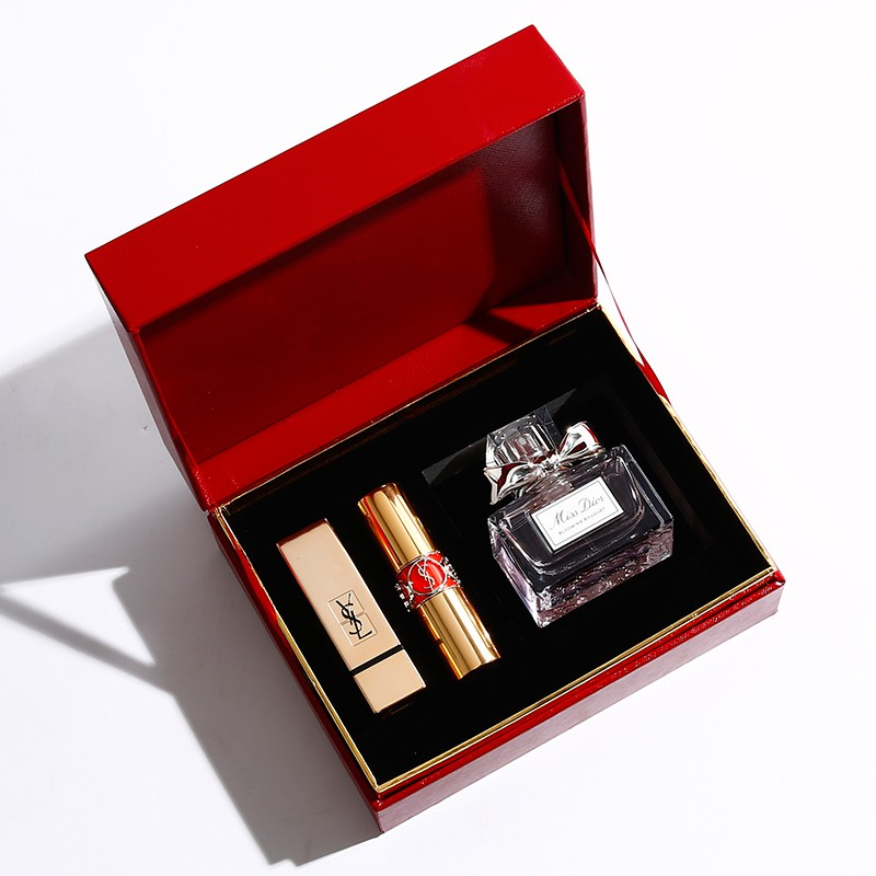 Dior Blue Gold Lipstick Set Perfume Gift Box Limited 520 # 999 New Year Lover