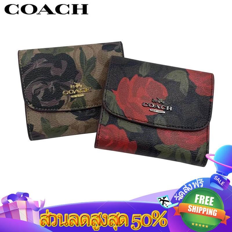 Coach กระเป๋าสตางค์ผู้หญิงใบสั้น🔥🔥🔥กระเป๋าสตางค์ใบกลาง3 พับ กระเป๋าผู้หญิง 25930