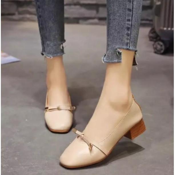 รองเท้าส้นตึกและส้นเตารีด# รองเท้าคัชชูสำหรับผู้หญิงมีส้น รุ่นหนัง TP14