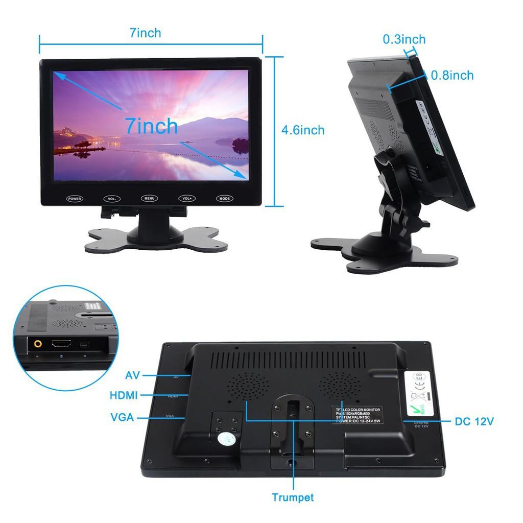 """Ultra Thin 7/"""" HD 800x480 TFT LCD Monitor AV//VGA//HDMI Input w//Speaker Adpater"""