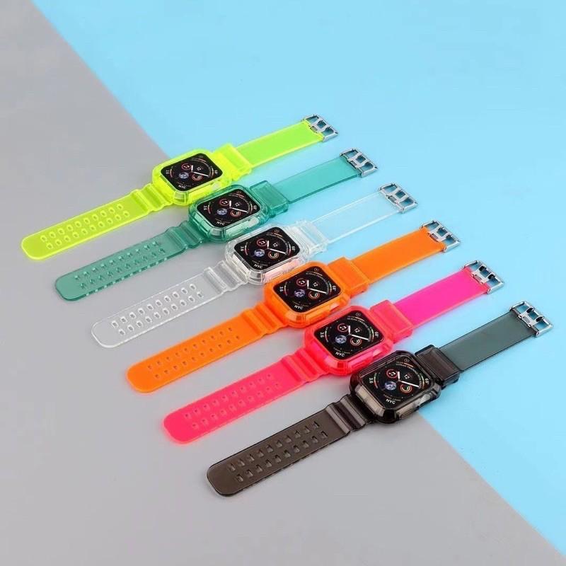 🔥💖🌟❀สายสำหรับ Apple Watch แบบใส เรืองเเสง Series1/2/3/4/5  ขนาด 38,40,42,44 mm. สายapplewatch สายนาฬิกา สาย สายเรืองแ