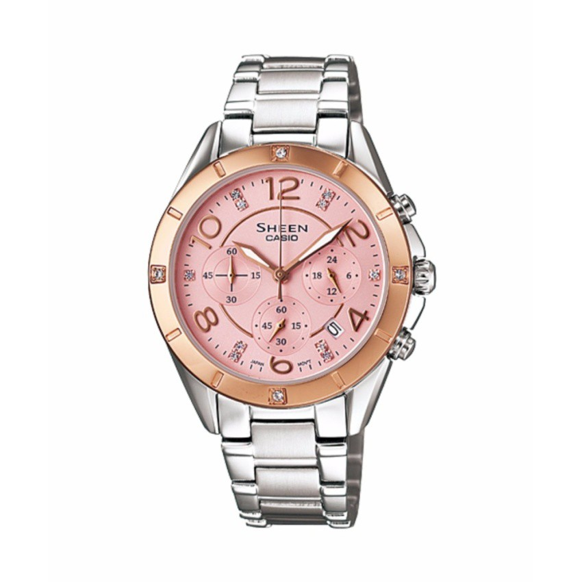 Casio นาฬิกาข้อมือผู้หญิง สายสแตนเลส รุ่น SHE-5021SG-4A - Silver/PinkGold  รับประกันศูนย์ 1 ปี  ของแท้