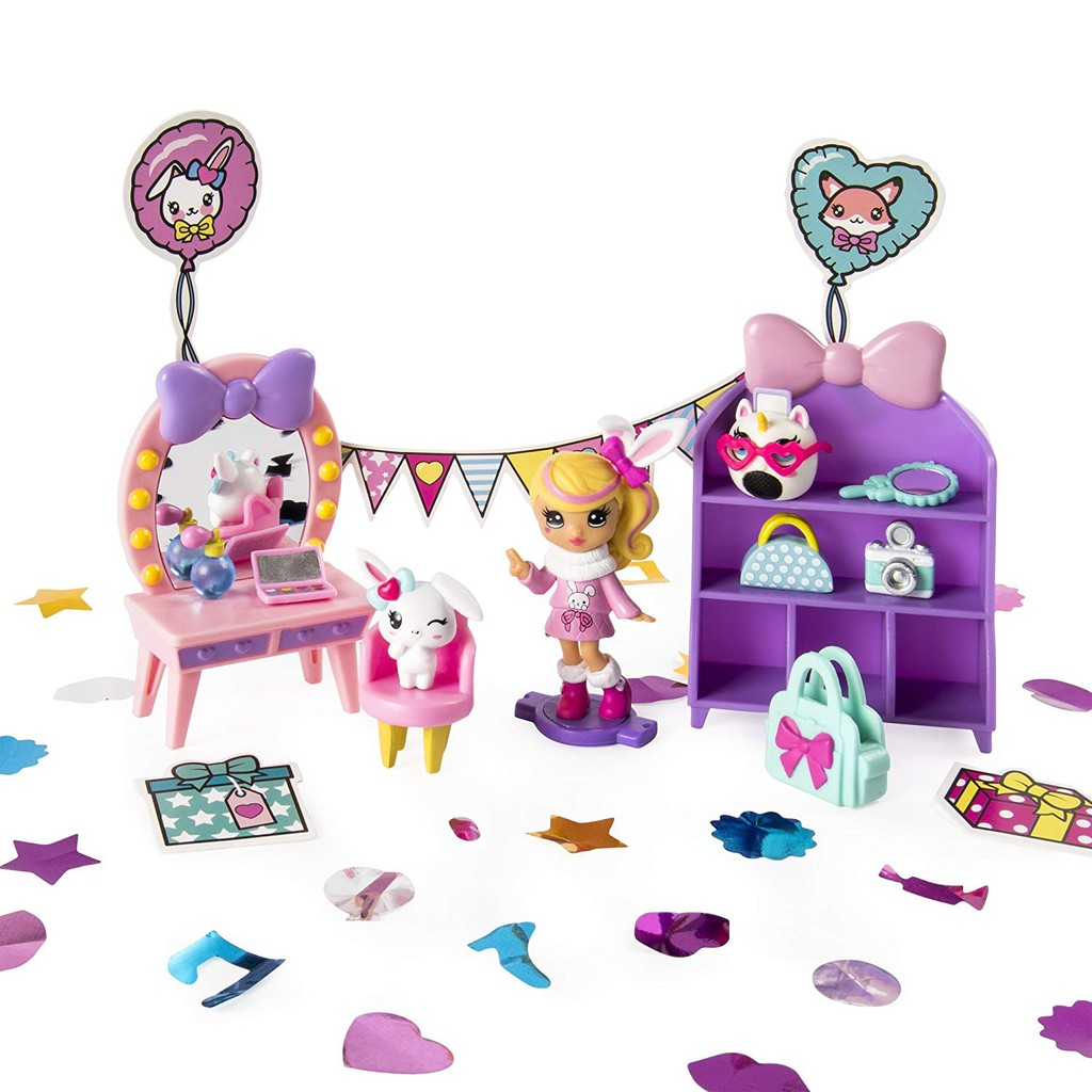 Party Popteenies Cutie Animal Party Surprise Box Doll Playset Confetti Exclusive