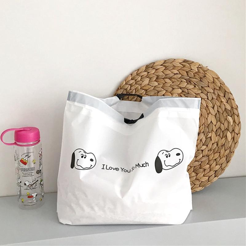 กระเป๋าช้อปปิ้ง แบบผูกเชือก พิมพ์ลายสุนัข สไตล์ญี่ปุ่นน่ารัก สําหรับผู้หญิง.
