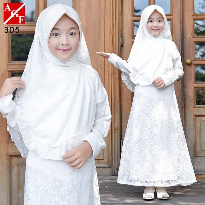 เสื้อผ้ามุสลิม / Gamis Azza Gh404 Agnes Putih Lebaranwanita 305 สําหรับเด็กผู้หญิง
