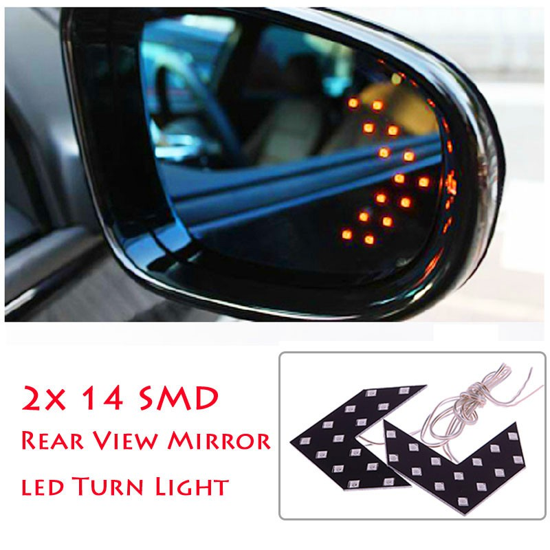 2X SMD 14 LED Arrow Panel Car Rear View Side Mirror Indicator Turn Signal Lights