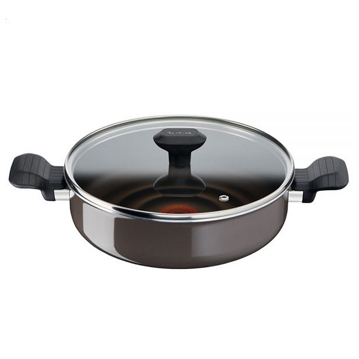 Tefal So Optimal Nonstick Saute Pan (24cm) Dishwasher Oven Safe No PFOA Thermo-Spot Heat Indicator Brown