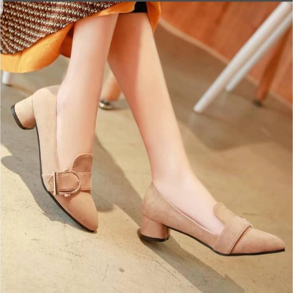 รองเท้าแตะแฟชั่นผู้หญิง◎❤ Rose Cy รองเท้าส้นสูงแฟชั่น คัชชูหุ้มส้น ผ้ากำมะหยี่❤ สไตล์เกาหลี - สีแดง-สีน้ำตาล-สีดำ No.F