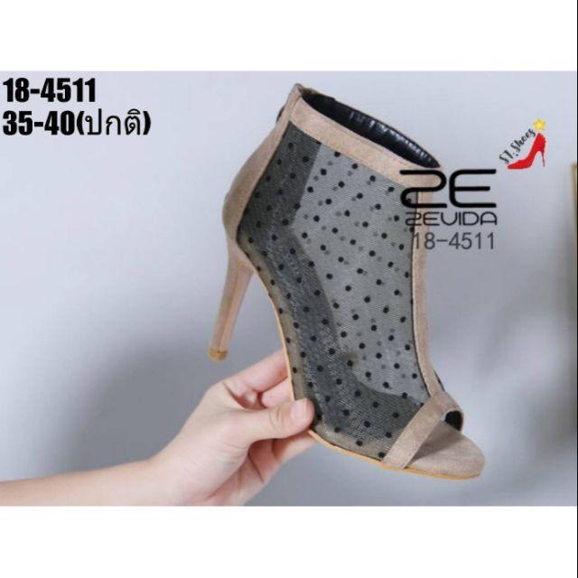 18-4511    รองเท้าคัชชูหุ้มส้น วัสดุหนังกำมะหยี่