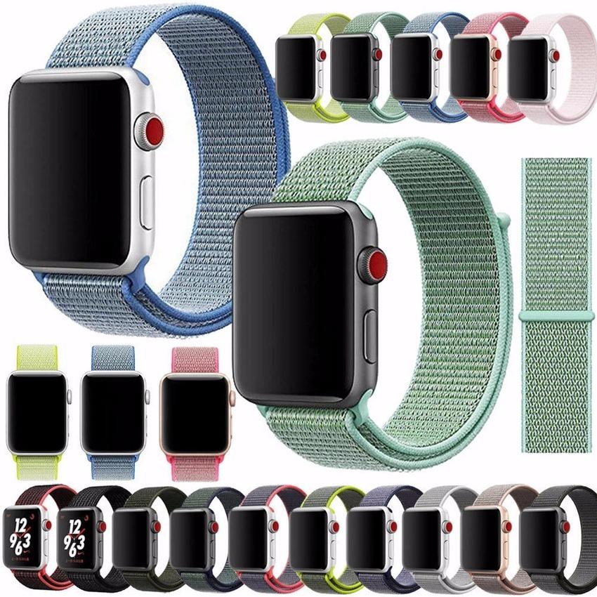 สายนาฬิกาข้อมือไนล่อนสําหรับ Apple Watch Band Series 5 4 3 2 1 38 มม . 40 มม . 42 มม . 44 มม .
