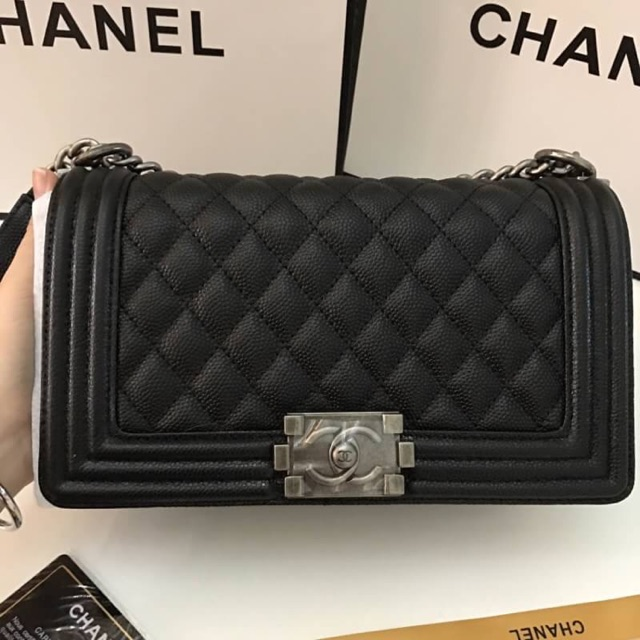 "Chanel boy ""10 caviar hi-end full set box"