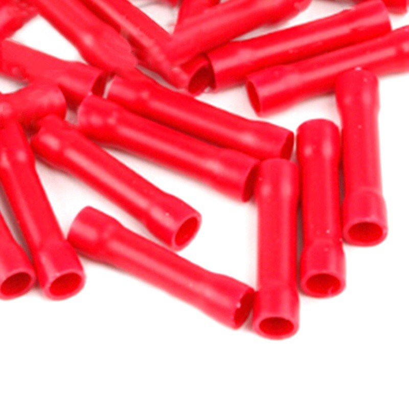Red Straight Crimps x100 Red Straight Butt Crimp Terminals