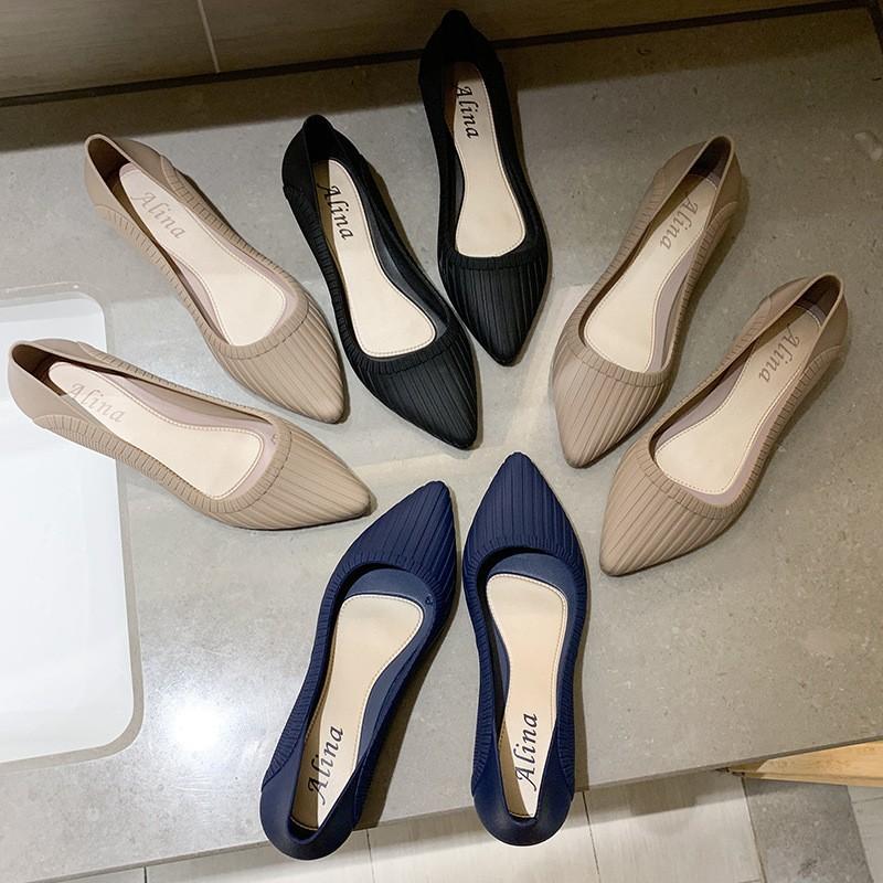 Best SALEรองเท้าผู้หญิงรองเท้าคัชชู หัวแหลมมีส้น1นิ้ว KD14รองเท้าแฟชั่น