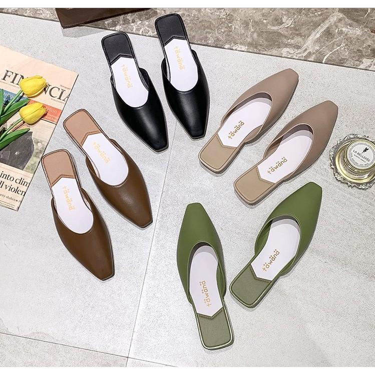 ELLA08 รองเท้าพร้อมส่ง รองเท้าผู้หญิง รองเท้าแฟชั่นเกาหลี รองเท้าคัชชู  รองเท้าส้นแบนหัวแหลมเปิดส้น รองเท้าแตะ