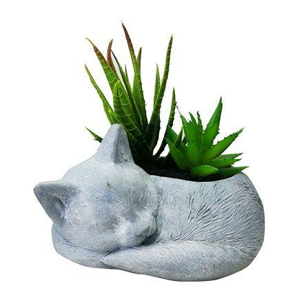 ต้นไม้ประดิษฐ์ตกแต่งสวนสวย PP ไม้อวบน้ำในกระถางรูปแมว SPRING 02