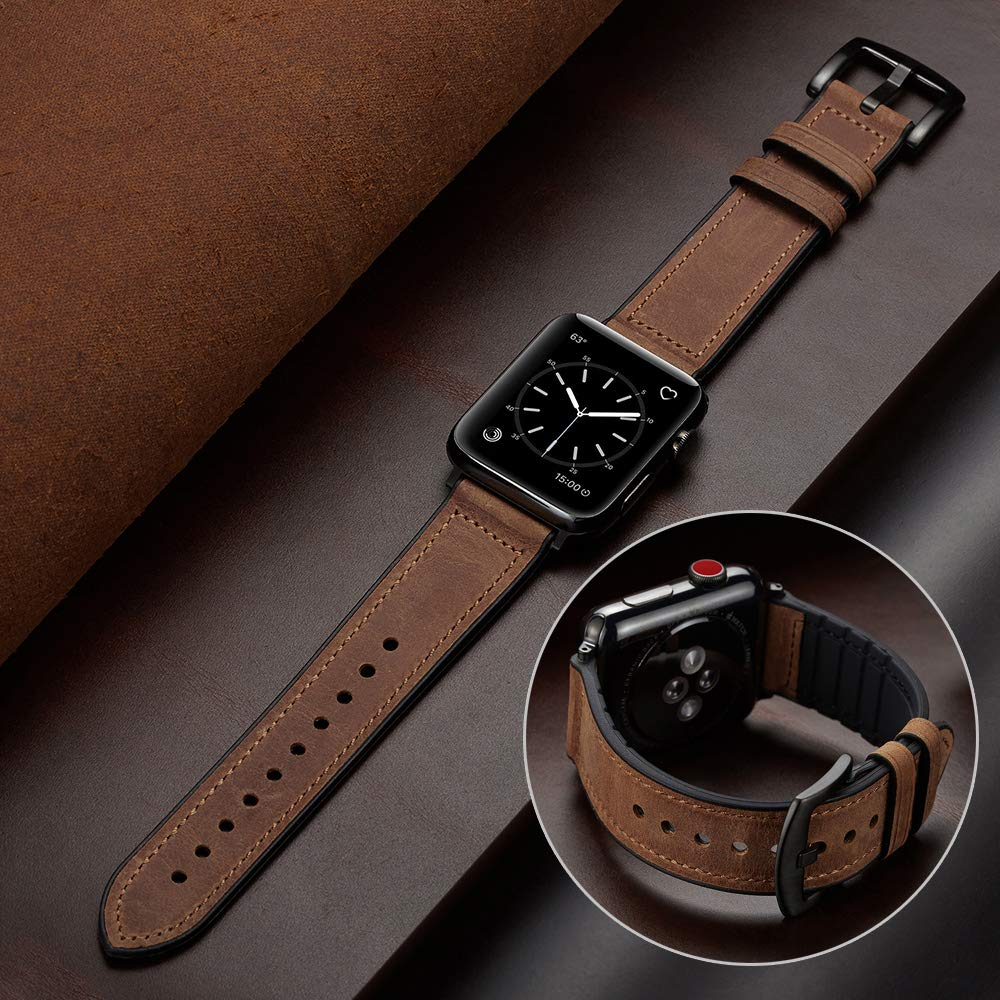 Silicone strap + Apple watch leather strap, 44mm, 40mm, 42mm and 38mm leather strap, Iwatch Series 5 4 3 se 6