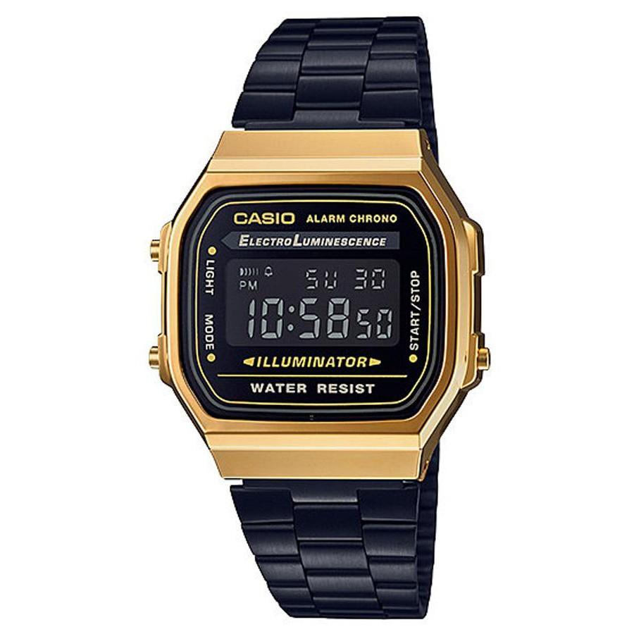 Casio Standard นาฬิกาข้อมือผู้ชาย สายสแตนเลส รุ่น A168WEGB,A168WEGB-1B,A168WEGB-1BDF - สีดำ/ทอง