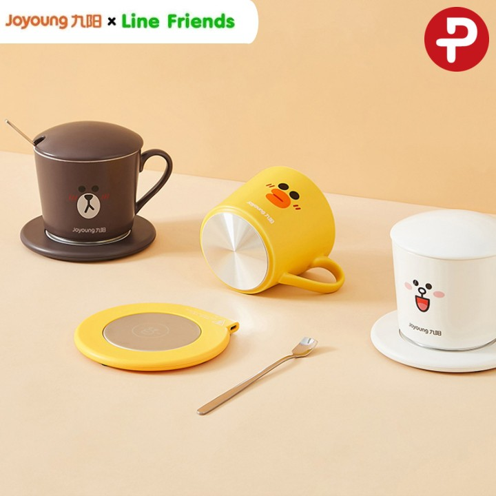 😬💦 [พร้อมส่ง] แก้วมัคเซรามิก พร้อมแท่นอุ่นร้อน JOYOUNG x LINE FRIENDS 🔥🔥🔥