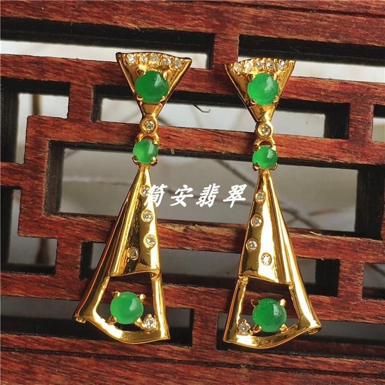 Jian'an หยกที่กำหนดเอง18K ทองฝังด้วยน้ำแข็งเต็มรูปแบบของพื้นผิวไข่สีเขียวหยกต่างหูหูกระดุมทองหนักเพื่อสร้างราคาแพง Dc8Ba