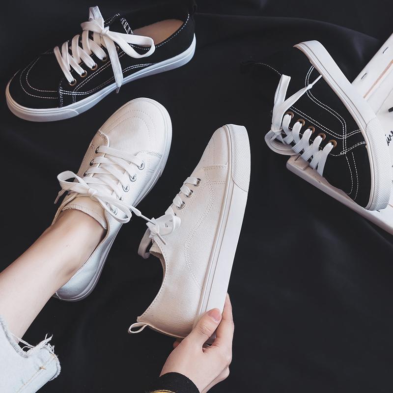 การซื้อเวลา จำกัด/รองเท้าคัชชู2020ฤดูร้อนใหม่สีดำรองเท้าผ้าใบหญิงเกาหลีป่ารองเท้าสีขาวนักเรียนรองเท้าแบนรองเท้าins--
