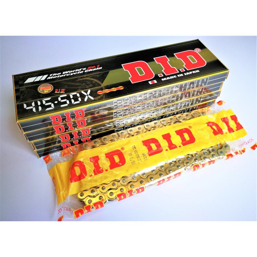 โซ่ DID 415-5DX  แท้สีทอง (ข้อบาง)  มอเตอร์ไซค์ทุกรุ่น ราคาถูก ขนาด 415 ยาว 132 ข้อ (Make In Japan)