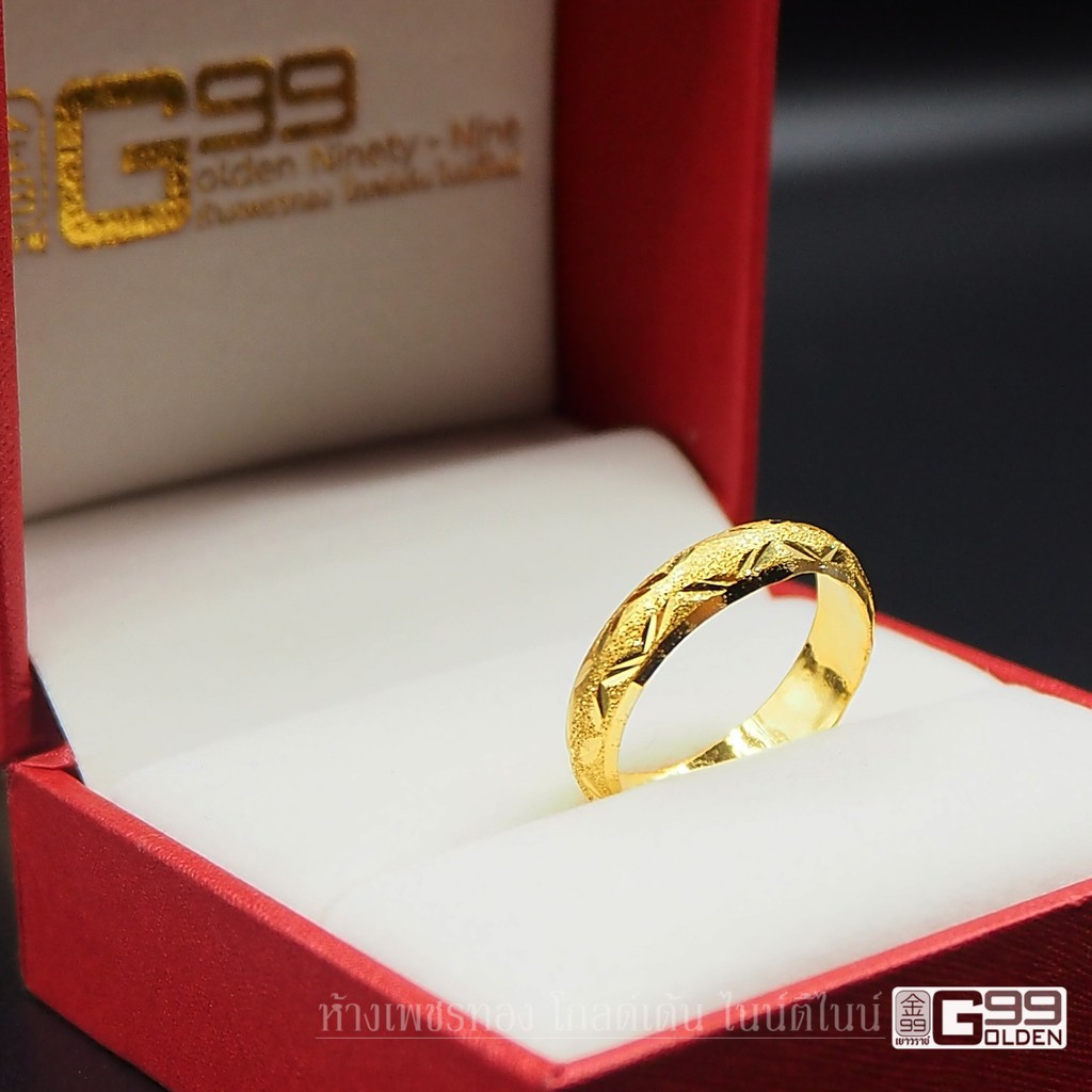 ราคาพิเศษ✚◈﹊แหวนทองครึ่งสลึง ทองคำแท้ 96.5%  แหวนปอกมีดจิกเพชร