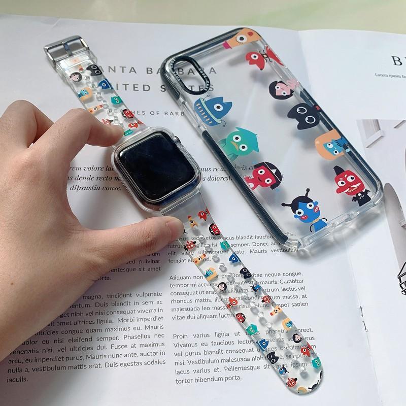 สาย applewatch☎สาย Applewatch มอนสเตอร์ตัวน้อยดั้งเดิมโปร่งใส Apple Watch iwatch6 / 5/4/3 generation se creative 44/42/