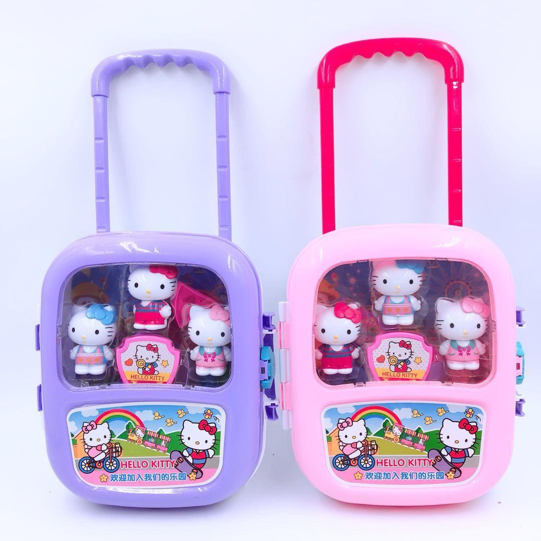 KT กระเป๋าเดินทางรถเข็นแมวกระเป๋าเดินทางเฟอร์นิเจอร์เค้กวันเกิด 1-2-3 ปีเด็กผู้ชายและเด็กผู้หญิงของเล่นเพื่อการศึกษา