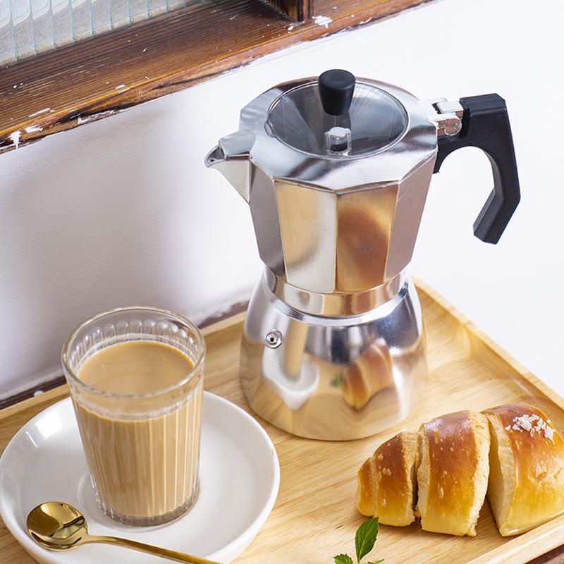 ℤむหม้อต้มกาแฟเครื่องชงกาแฟมือส่งออกสินค้าหางหม้อ Moka ทำกาแฟกาแฟทำมือในครัวเรือนอลูมิเนียมแข็งแรงพิเศษหม้อกาแฟขนาดเล็กอิ