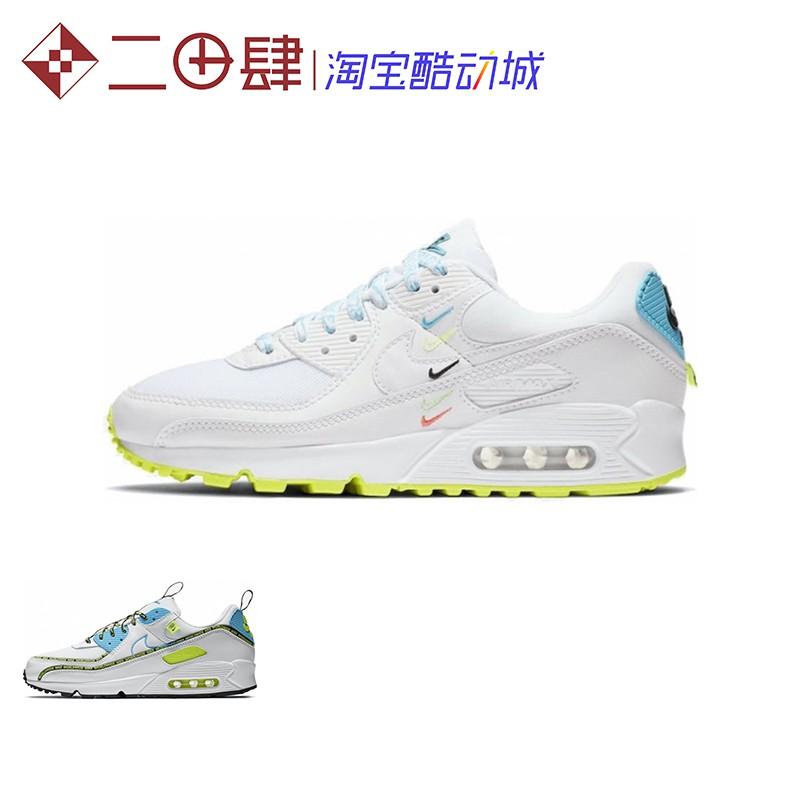 รองเท้าวิ่ง Nike Air Max 90 SE สีขาวฟ้าเหลืองขาวน้ำเงินมาตรฐาน CZ6419 CK7069