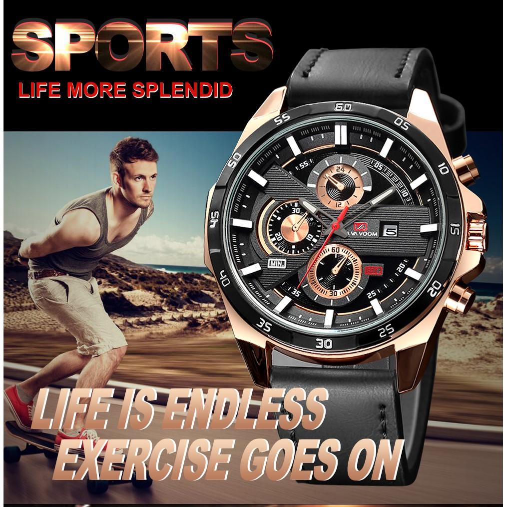 VAVA 216 นาฬิกาธุรกิจ นาฬิกาผู้ชาย นาฬิกาข้อมือกีฬา สายหนัง ตัวเรือนสแตนเลส Casio movement ของญี่ปุ่น กันน้ำ พร้อมปฏิทิน นาฬิกาควอตซ์ คุณภาพดี  รุ่นใหม่ในปี