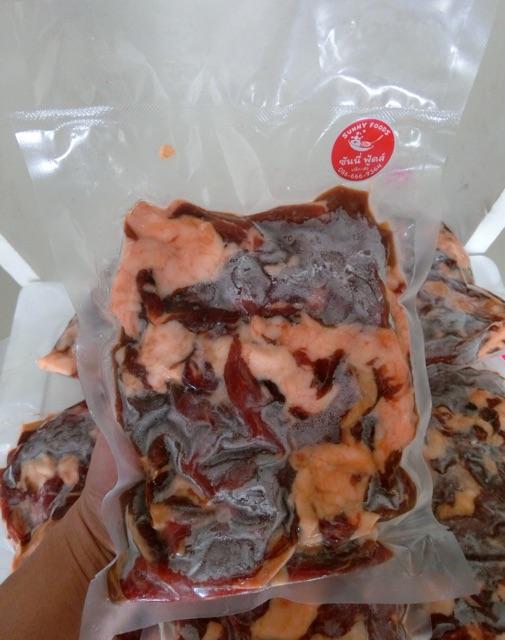 เนื้อโคขุนแดดเดียว เนื้อแดดเดียวติดมัน 500 กรัม ใช้เนื้อโคขุนปลอดสาร หมักสูตรพิเศษ เนื้อนุ่มๆ ไม่เหนียวทำใหม่ทุกวัน