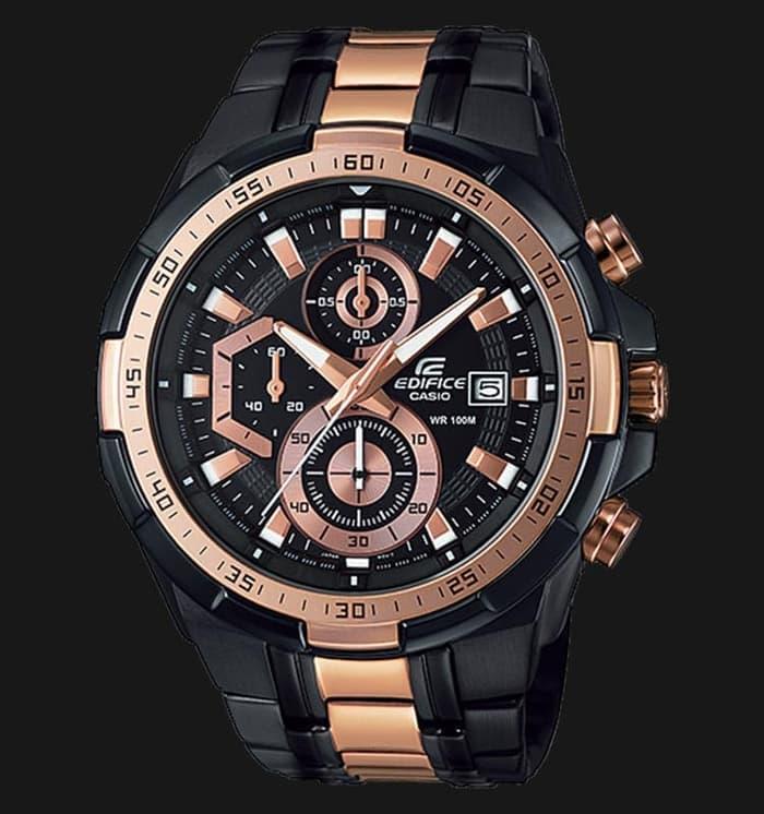 (ของแท้100% ประกันCMG) Casio Edifice นาฬิกาข้อมือชาย สายสแตนเลส รุ่นEFR-539BKG-1AV - Black/Rosegold รับประกัน 1 ปี M7ob