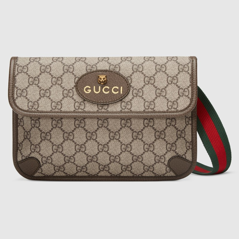 Gucci GG Supreme canvas belt bag 24cm beige ใหม่เอี่ยม