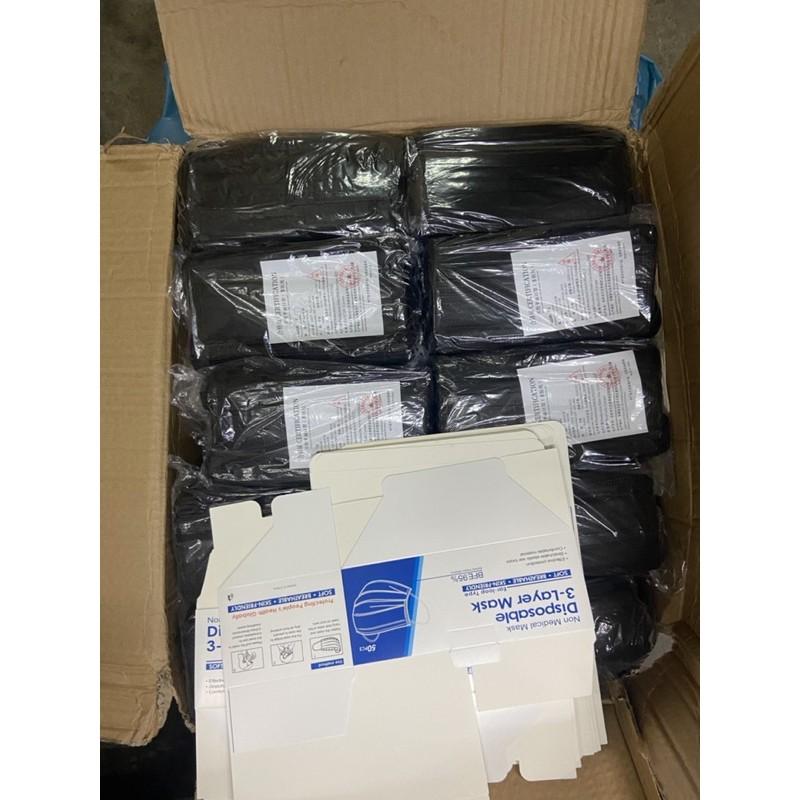 หน้ากากอนามัยสีดำยกลัง50กล่อง 1กล่อง 50 ชิ้น