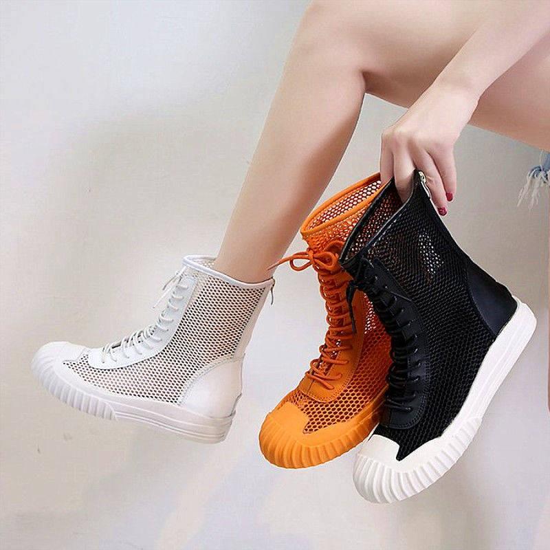 รองเท้าส้นสูงไซส์ใหญ่!รองเท้าคัชชู!รองเท้าส้นสูงมือสอง! รองเท้าแตะแฟชั่นเด็กฤดูร้อนตาข่ายกลวงตาข่ายรองเท้าข้อเท้าแบนรองเท้ามาร์ตินรองเท้าแตะสีแดงป่าและบางสุทธิของผู้หญิง