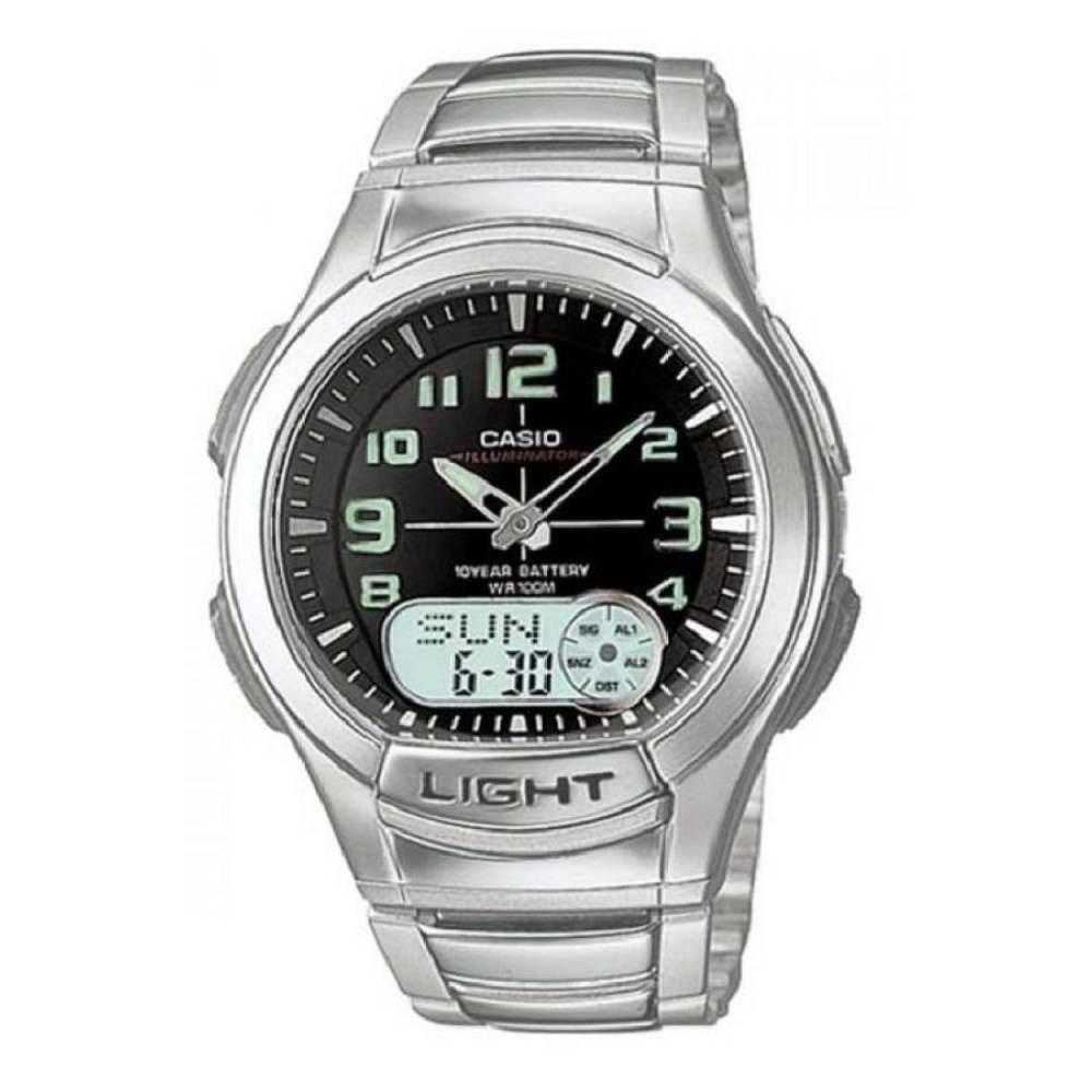 Casio Standard นาฬิกาข้อมือผู้ชาย สายสแตนเลส รุ่น AQ-180WD-1BVDF - Silver