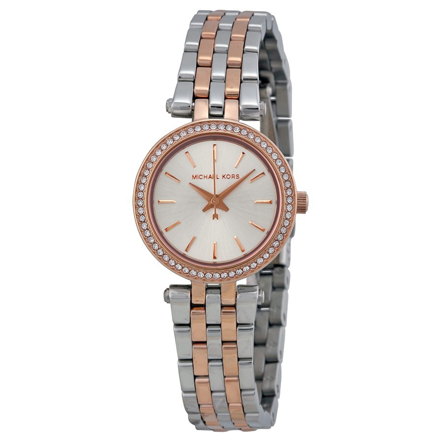 4e2a36913e64 MICHAEL KORS MK6306 Mini Parker Silver Dial GMT Two Tone Stainless Steel Ladies  Watch