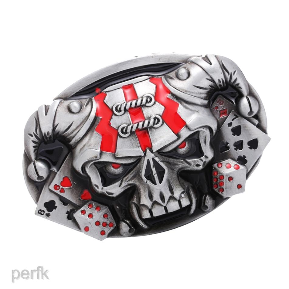 Punk Skull Belt Buckle Antique Silver 3D Skull Heads Gothic Motorcycle Biker