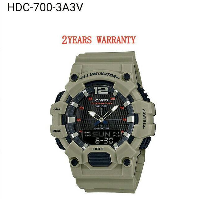 ส่วนลด  [2 ปีรับประกัน] ต้นฉบับ Casio HDC-700-3A3V Men Youth Digital Analogy Sports