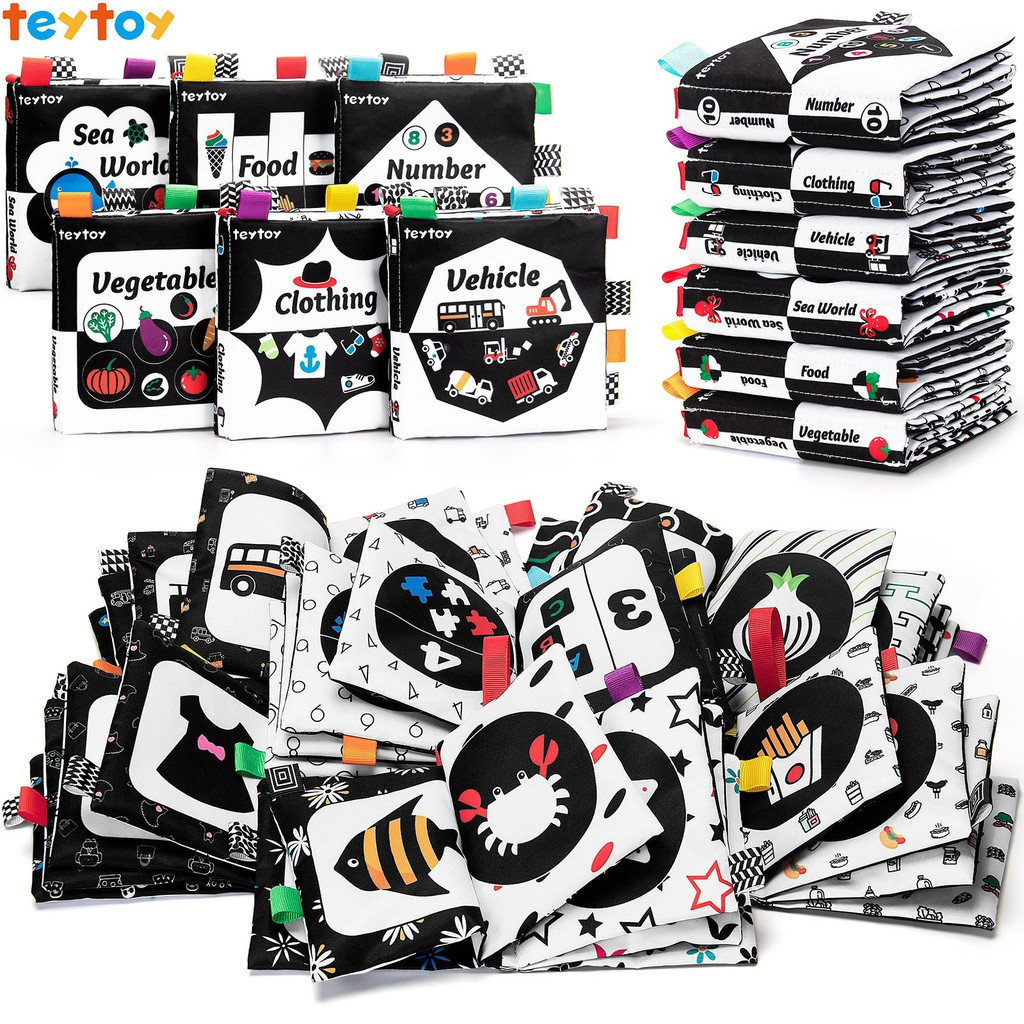 teytoy Baby Soft Book Cloth Book Set 6 PCS, Baby Activity Crinkle Soft Black and White Books Educational Learning Toy fo