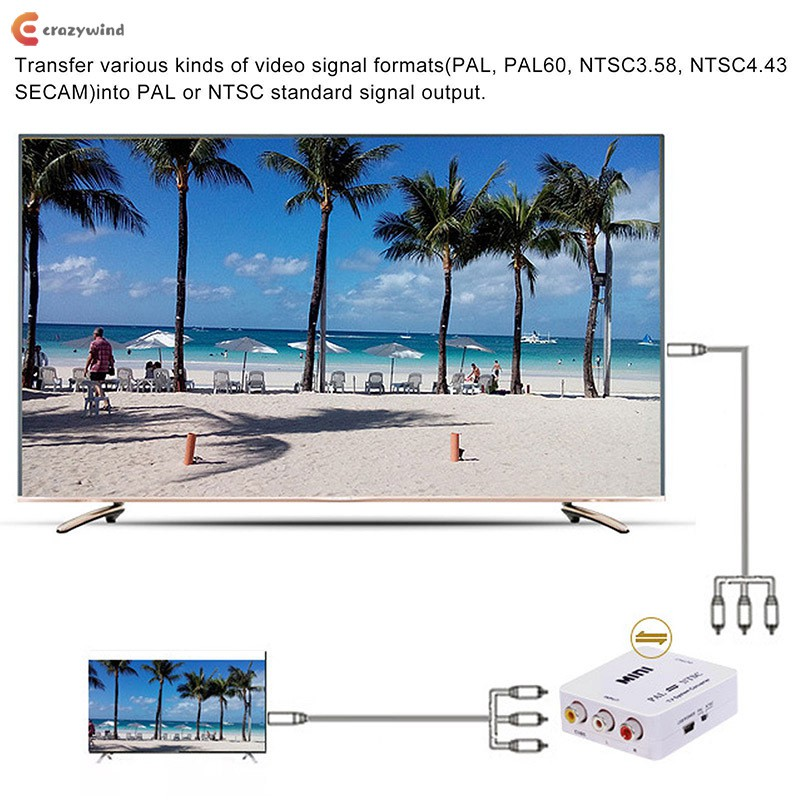 1 ชิ้น PAL / NTSC / SECAM To PAL / NTSC Mini Bi-Directional TV System  Converter Switcher