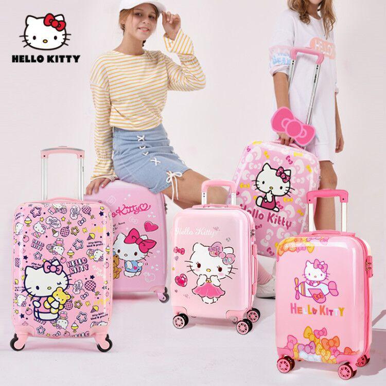 Hello Kitty เด็กกระเป๋าเดินทาง Girl รถเข็นกระเป๋าเดินทางน่ารักการ์ตูนขนาดเล็ก20นิ้ว1
