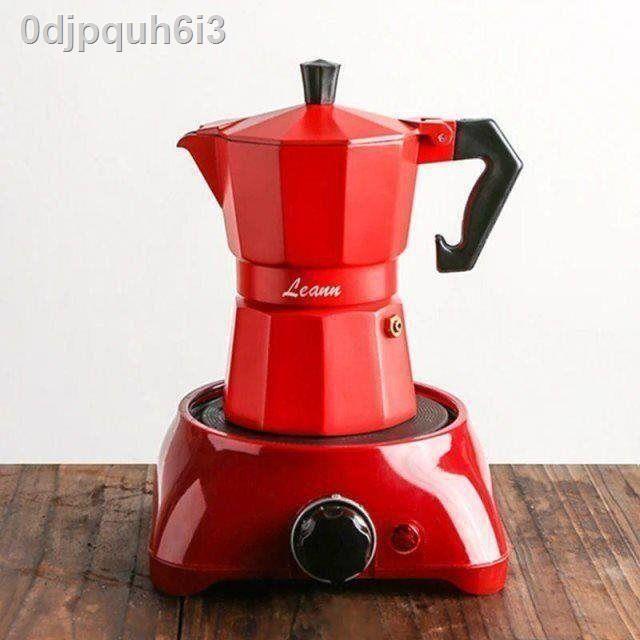 หม้อกาแฟ❇เครื่องชงกาแฟ Moka pot เพื่อทำเครื่องใช้ไฟฟ้าในครัวเรือนชุดเครื่องชงกาแฟสไตล์อิตาเลี่ยนขนาดเล็กของอิตาลี