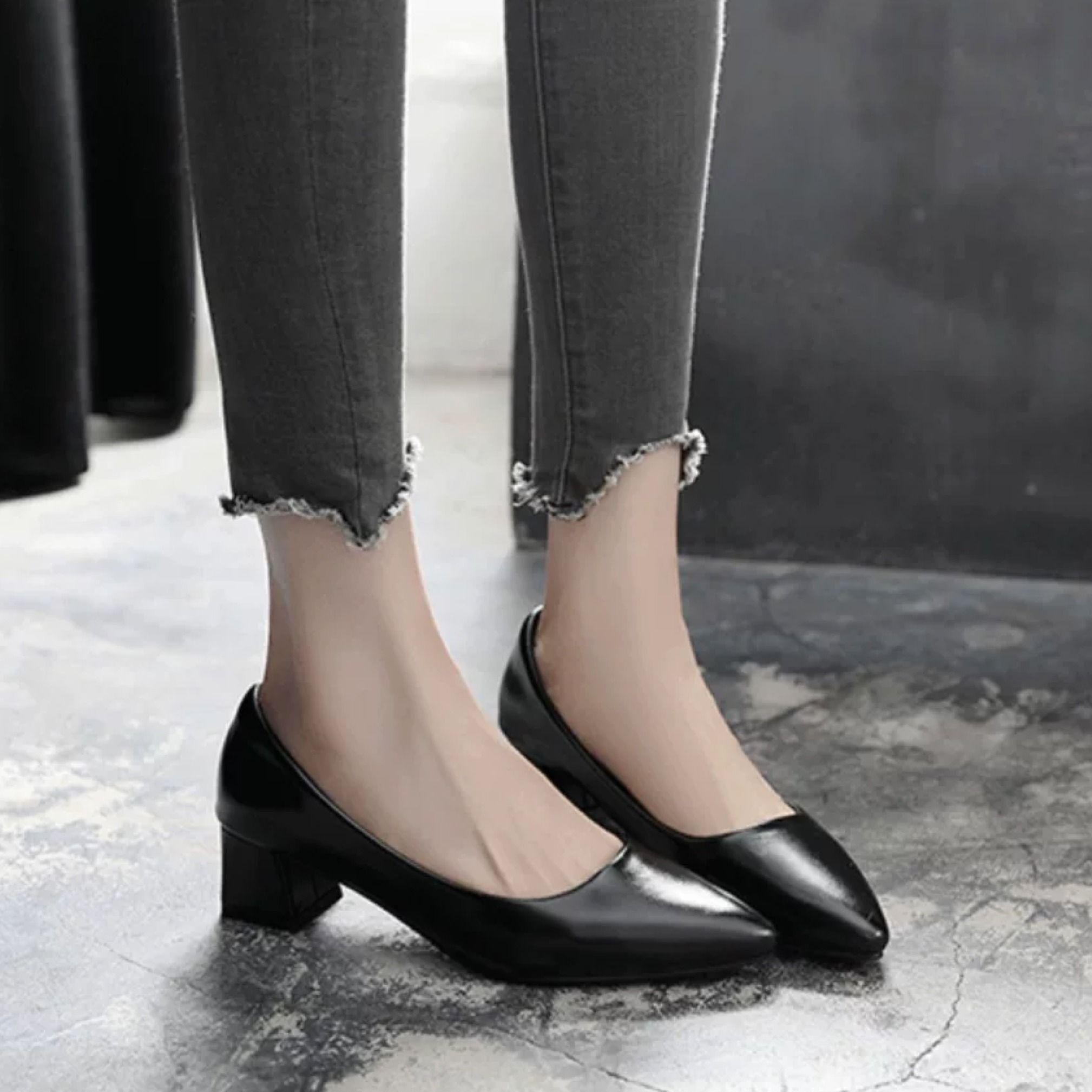 ⭐👠รองเท้าส้นสูง หัวแหลม ส้นเข็ม ใส่สบาย New Fshion รองเท้าคัชชูหัวแหลม  รองเท้าแฟชั่นรองเท้าทำงานหญิงสัมภาษณ์งานสีดำชี้ร