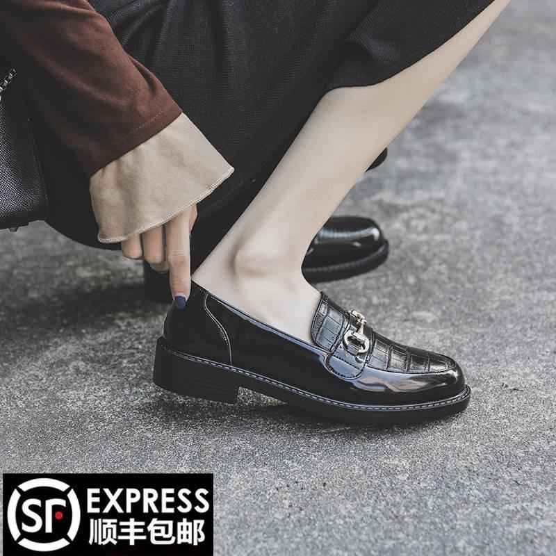 ร้องเท้า รองเท้าผู้หญิง รองเท้าคัชชู ☛2021 ใหม่รองเท้าหนังขนาดเล็กหญิงอังกฤษลมหนังสีดำฤดูใบไม้ผลิฤดูป่ารองเท้าเดียวม้าแร