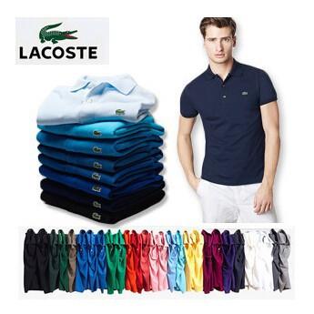 Lacoste เสื้อยืดโปโล 100 % สําหรับผู้ชาย