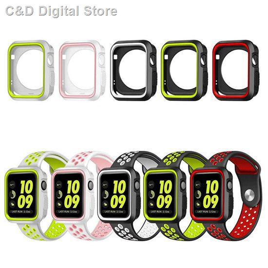 【อุปกรณ์เสริมของ applewatch】☜✺ใช้ได้กับ Apple Applewatch Nike Silicone Breathable Strap iwatch Dual Color Sports สายร