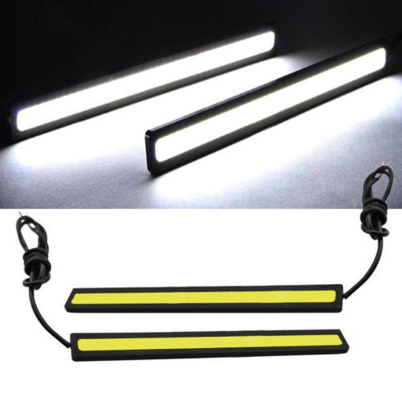 One Pair 17cm Car LED DRL Fog Strip Daytime Running Bright COB White Lights 12V