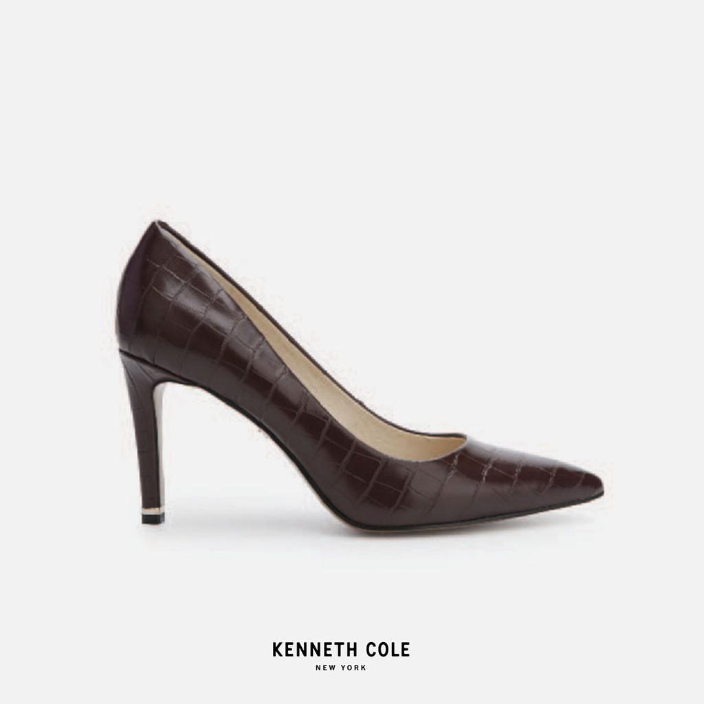 Kenneth Cole รองเท้าทำงานทรงคัชชูส้นสูง สีน้ำตาล หนังปั้มลาย
